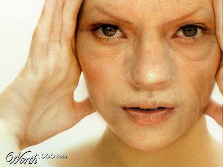"""Photoshop-StarsBotox war hier bestimmt nicht im Spiel. Kate Moss (38) als ihre eigene Horrorvorstellung. Hat irgendwie Ähnlichkeit mit dem """"Herr der Ringe""""-Gollum."""