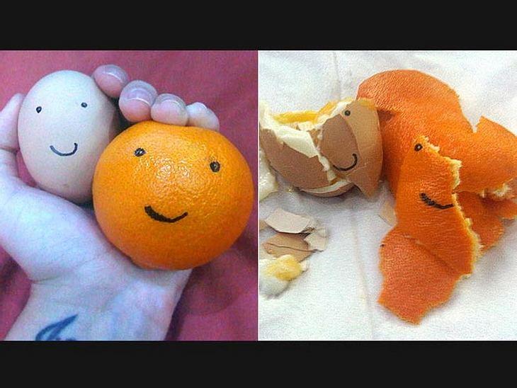 Ein glückliches Ei und eine fröhliche Orange - doch nach Katys Frühstück ist alles vorbei.