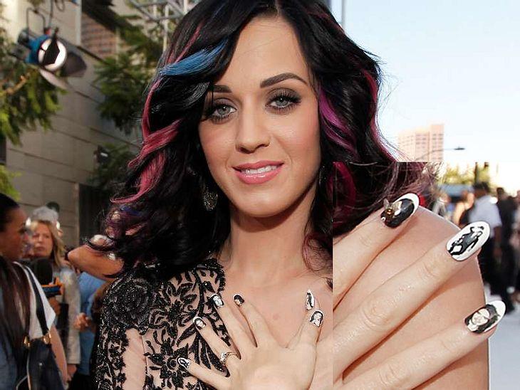 Nageldesign Galerie Katy Perry schießt den Vogel ab: Sie ließ sich auf alle ihre Nägel verschiedene Mini-Bilder ihres Ehegatten  Russell Brand kleben. Das muss echte Liebe sein ...