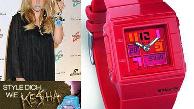 """Gewinne zur """"Style like Ke$ha""""-Aktion eine coole rote Baby-G-Uhr von Casio"""