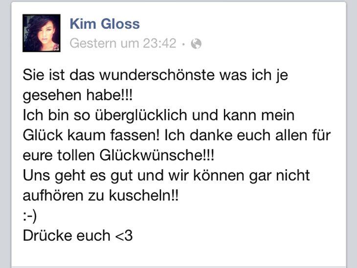 Kim Gloss ist nach der Geburt überglücklich.