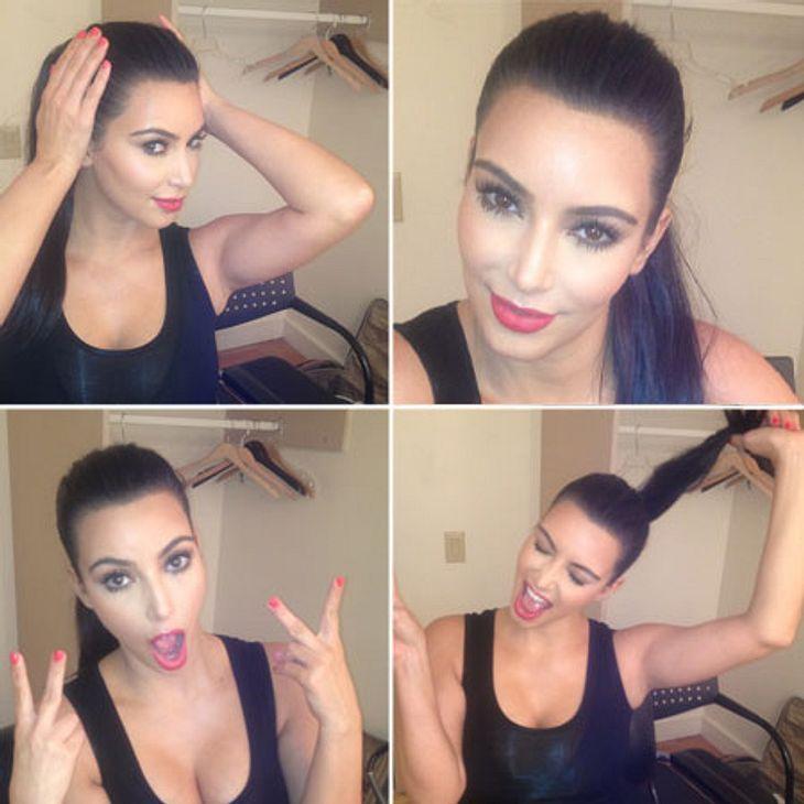 Sitzt die Frisur? Kim Kardashian (31) macht den Test vor der Webcam - inklusive schräger Grimassen-Show. Offenbar war Kim von ihren Schnappschüssen so begeistert, dass sie sie gleich via Twitter um die Welt schickte.