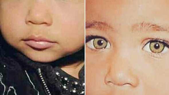 North West mit unterschiedlichen Augenfarben. - Foto: Instagram / kimkardashian (2)