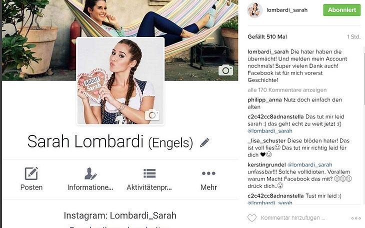 Sarah Lombardi kehrt Facebook den Rücken