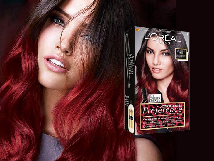 Ombre Hair geht jetzt auch in farbig: Die PRÉFÉRENCE OMBRÉ COLOR Collection von L'Oreal gibt es in zwei Nuancen für leuchtendrote, kupferfarbene Spitzen, um 8 Euro.