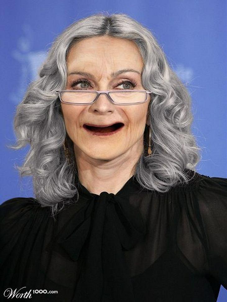 Photoshop-StarsWenn wir fies wären, würden wir sagen: So weit vom Original ist das gar nicht weg. Machen wir aber nicht. Denn Zähne hat Madonna (53) ja noch...