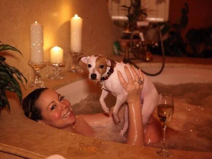 Was für ein tierischer Valentinstag! Statt ihres Ehemanns nahm Mariah Carey lieber ihr Hündchen mit in die Wanne...