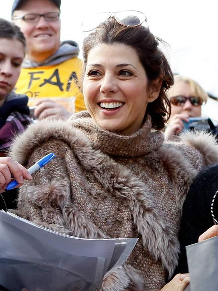 Die Schauspielerin Marisa Tomei mag es eher casual. Der braune Wollpulli ist nicht schick aber praktisch.