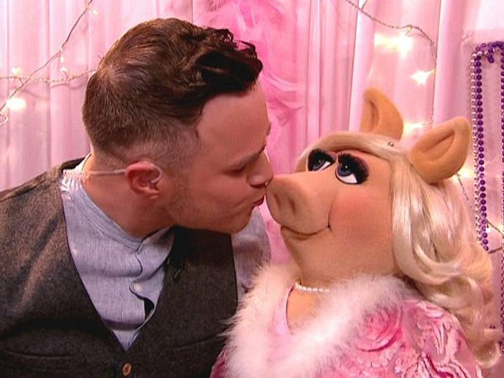 Stars beim KnutschenMiss Piggy hat schon viele Männer um den Verstand gebracht. Auch Moderator Olly Murs (27) ist ihr schon verfallen.