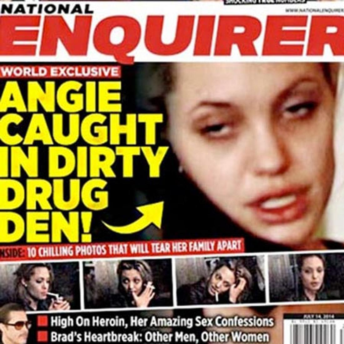 Die Zeitung zeigt Angelina in ihren dunkelsten Stunden