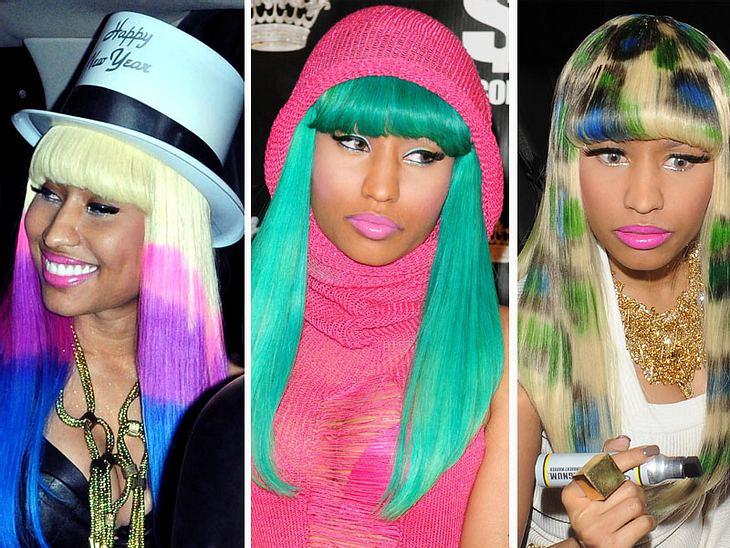 """Nicki Minaj: Ihre verrücktesten Haar-StylesDie Sängerin und Songwriterin Nicki Minaj (26) stürmte die Musik-Charts mit ihrem Debütalbum """"Pink Friday"""" und ist seitdem aus der Musikszene nicht mehr wegzudenken. Besonders bekannt ist"""