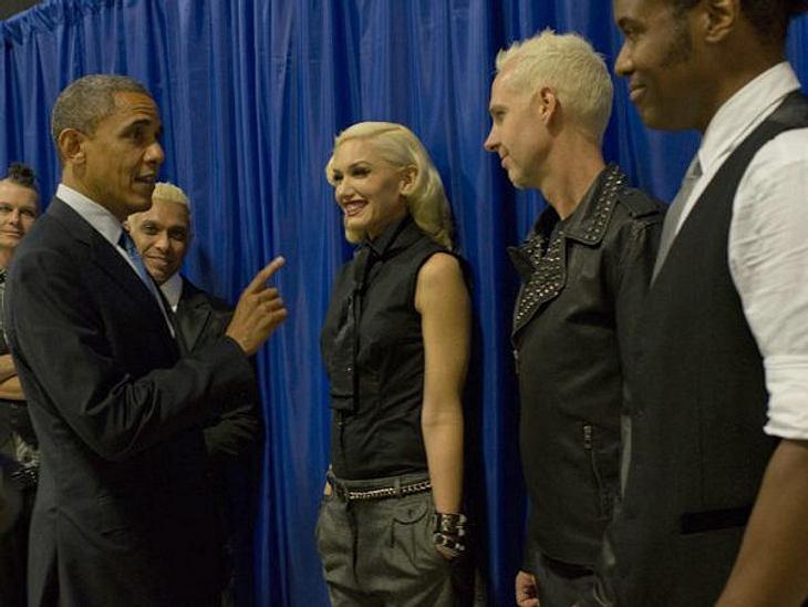 """Obama vs. Romney: Welchen Präsidenten wählen die Stars?Gwen Stefani und ihre Kollegen von """"No Doubt"""" lassen sich auch gern persönlich von Obamas-Wahlprogramm überzeugen.,"""