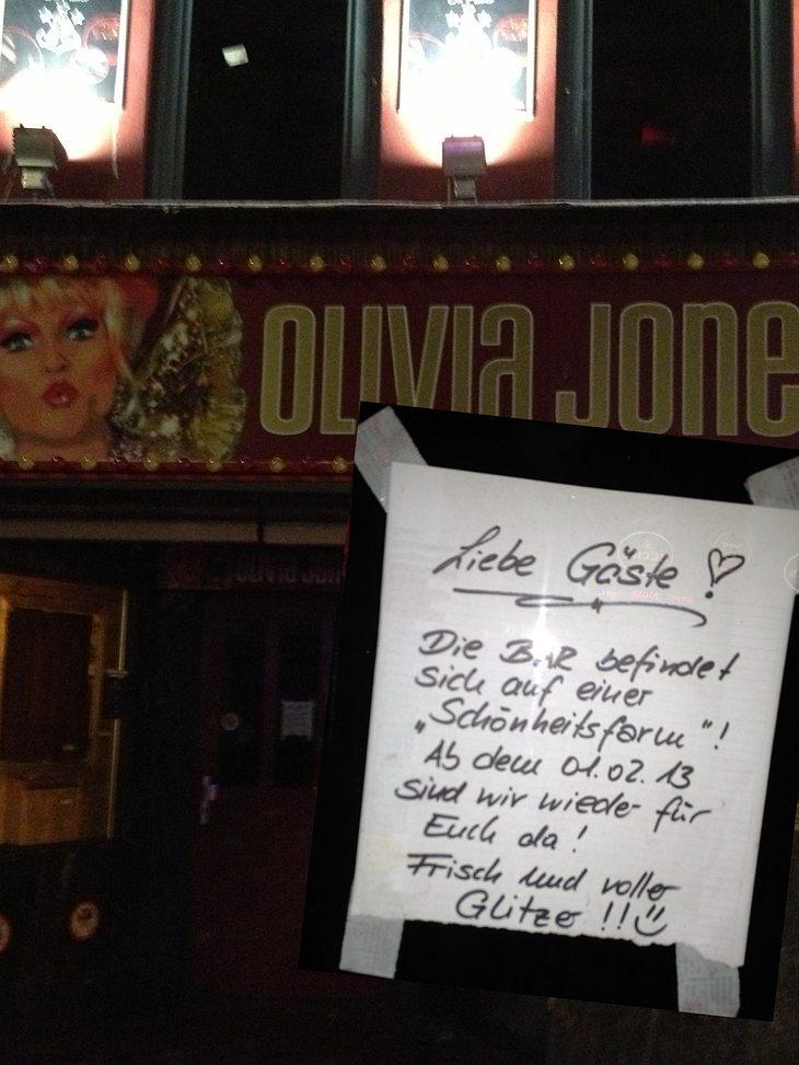 Die Olivia Jones-Bar bleibt dicht