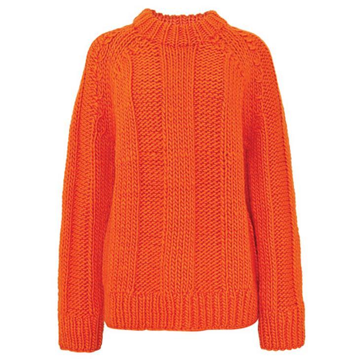 ,Star-Style: OrangeHandgestrickter Rippenpullover aus Wolle von Cos, um 70 Euro