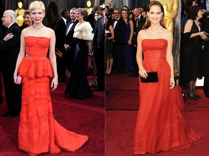 """Die Kleider der Oscar-Verleihung 2012Die für den Oscar als """"Beste Hauptdarstellerin"""" in """"My Week with Marilyn"""" nominierte Michelle Williams (31) stimmte ihre Louis Vuitton-Robe farblich auf das Vintage Dior-Kleid von Vor"""