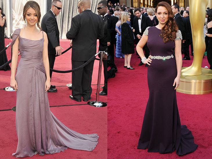 Die Kleider der Oscar-Verleihung 2012In zarten Violetttönen zeigten sich Sarah Hyland (21) in Alberta Ferreti und Maya Rudolph (39) in Johanna Johnson.