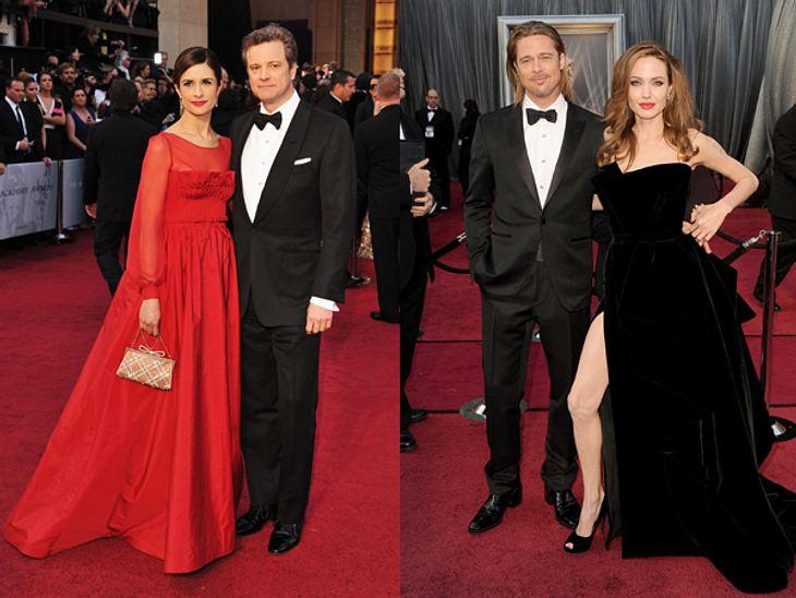 Die Kleider der Oscar-Verleihung 2012Colin Firth (51) und Frau Livia Giuggio versus Brad Pitt (48) und Angelina Jolie (36) im Samtkleid von Atelier Versace. Wir finden das britische Paar gewinnt haarscharf gegen die starre Silhouette der US