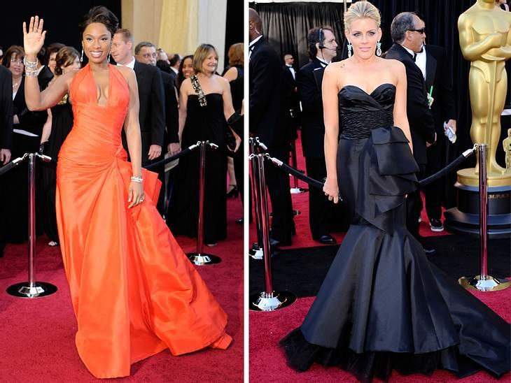 Die Fashion-Trends der Oscar-VerleihungDiese beiden Star-Damen zeigten bei der Oscar-Verleihung einen der aufregendsten Trends: Drappierungen. Die supererschlankte Jennifer Hudson in Signalfarbe Orange von Valentino und Busy Philipps in ein