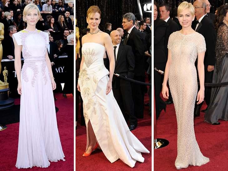 """Die Fashion-Trends der Oscar-VerleihungDiese drei achteten aufs Detail - und überzeugten damit! Cate Blanchett im aufregend verzierten, roséfarbenem Couture-Kleid mit gelbem Farbtupfer von Givenchy, die als """"Beste Schauspielerin"""""""