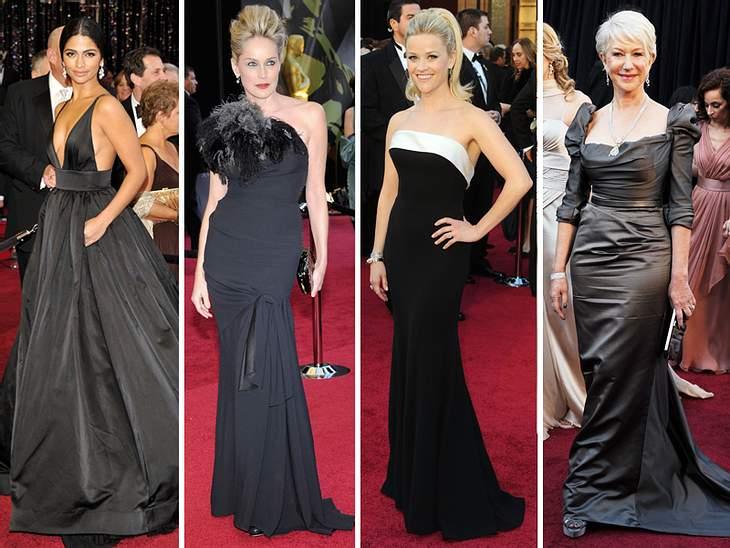 Die Fashion-Trends der Oscar-VerleihungBlack is Back! So viel Schwarz haben wir schon lange auf keinem Red Carpet der Oscar-Verleihung mehr gesehen: Matthew McConaugheys Freundin Camila Alves kam in einer kohleschwarzen XL-Robe von Kaufman