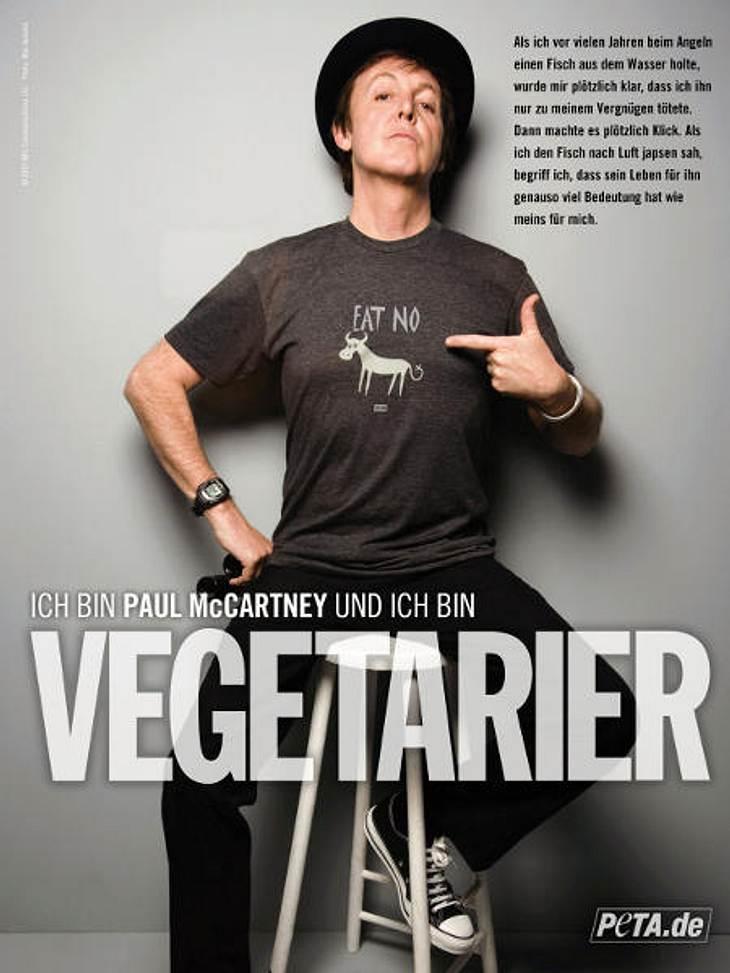 Diese Stars sind Vegetarier und VeganerDass Sir Paul McCartney bekennender Vegetarier ist, dürfte durch das Plakat für die Tierschutzorganisation PETA recht deutlich werden. Seine engagierte Einstellung zum Vegetarismus haben den Musiker un