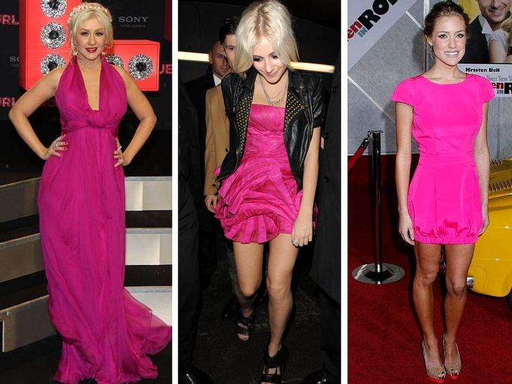 Pink, pink, pink sind alle meine KleiderMädchen lieben Pink, die Promi-Ladys auch. Die Knallfarbe bringt Farbe ins triste Wintergrau und macht gute Laune. Und dazu sieht eine Frau im pinken Kleid auch noch richtig sexy aus.