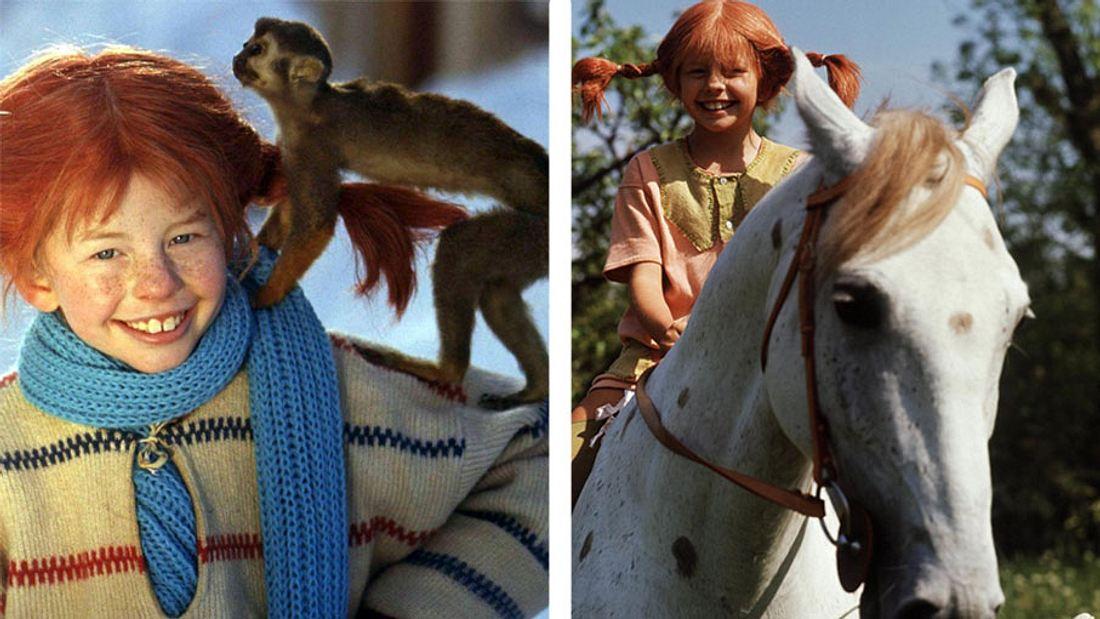 Pippi Langstrumpf mit ihrem Affen Herr Nilsson und ihrem Pferd Kleiner Onkel