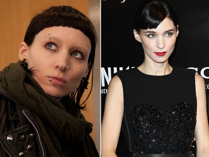 """,Rooney Mara vs. Noomi Rapace: Die """"Verblendung""""-StarsOptisch überzeugt Rooney Mara als Lisbeth Salander mehr. Sie ist extrem abgemagert, hat helle Augenbrauen, abstoßende Piercings, die sie sich in Augenbraue und Nippel extra ste"""