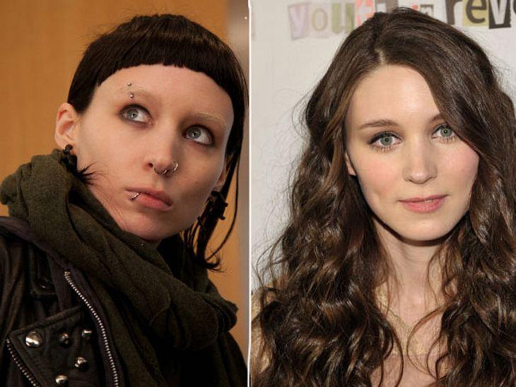 """,Rooney Mara vs. Noomi Rapace: Die """"Verblendung""""-StarsDie größte Veränderung musste wohl Rooney Mara hinter sich bringen. Ihre hellbraunen, langen Locken mussten für eine pechschwarze Kurzhaarfrisur weichen. Einige Kilos mussten b"""