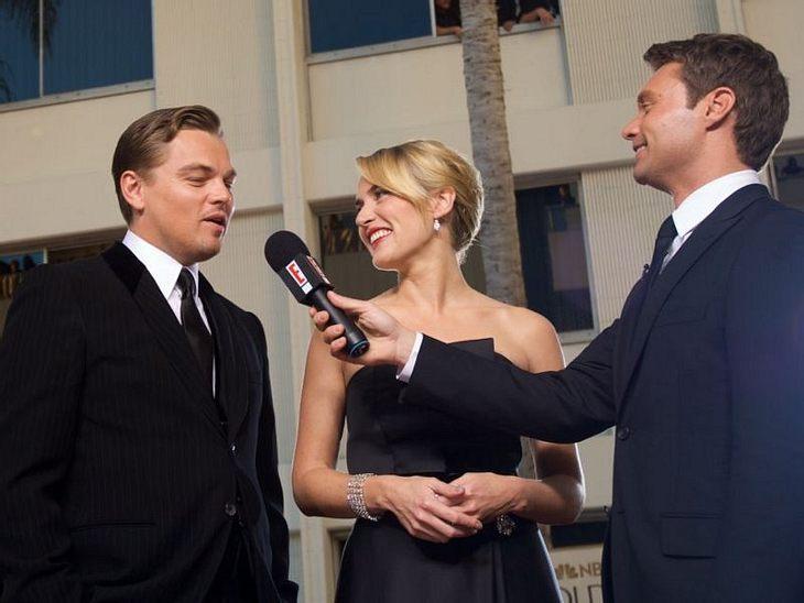 Ryan Seacrest mit Leonardo DiCaprio und Kate Winslet
