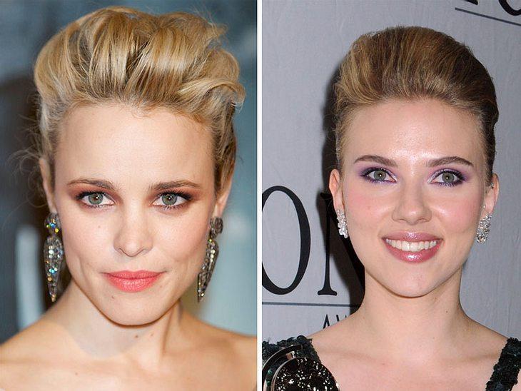 ,Jetzt knallt's! Die Beauty-Trends der StarsDen Oberkopf toupieren und hinten zusammenstecken: Die einfachste Form der Hochsteckfrisur tragen zum Bespiel Rachel McAdams und  Scarlett Johansson - so easy, so sexy.