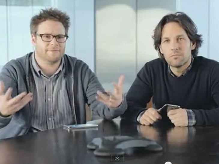 Seth Roggen und Paul Rudd werben für Samsung.