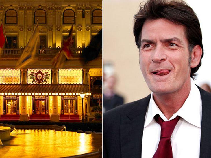 """Die Randale & Skandale der Stars""""The Plaza"""" in New York  Erinnerungen? Fehlanzeige!Dass Charlie Sheen (46) nicht von zurückhaltender Natur ist, bewies er 2010 im noblen """"Plaza Hotel"""" in New York. Der nach dem Notruf"""