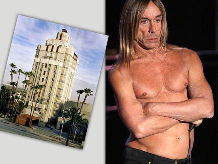 """Die Randale & Skandale der Stars""""Sunset Tower Hotel"""" in West Hollywood/Los Angeles - Karriere-SprungbrettPunkrock-Veteran Iggy Pop (65) sorgte in dem Art-Déco-Hotel für Aufsehen. Er sprang während seines Langzeit-Aufenthaltes"""
