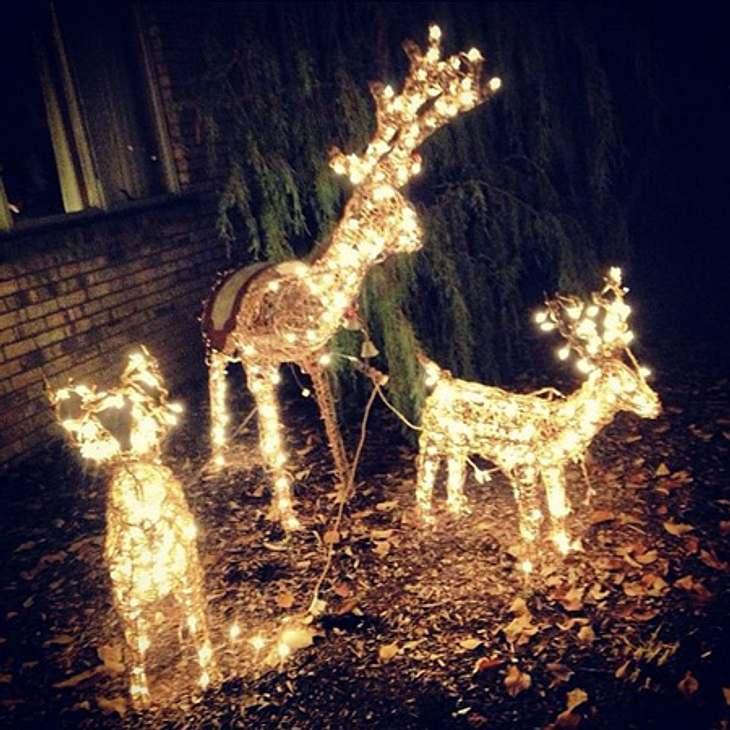 Ho Ho Ho - Stars im Weihnachtsfieber... ihres geschmückten Hauses. Im Vorgarten finden sich sogar leuchtende Rentiere.