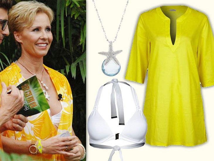Sonja Zietlow: Ihr sexy Dschungelcamp-LookWie sie strahlt, die Sonja, in leuchtendem Gelb und weißem Bikini.