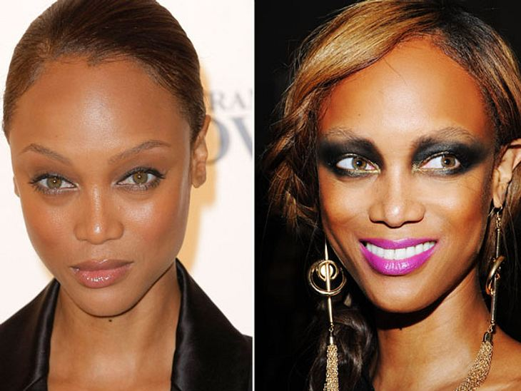 Star-Make-Up: Ein Unterschied wie Tag und NachtVon der Naturschönheit zum Pandabär: So könnte man in groben Zügen den Unterschied bei Tyra Banks (38) vom Tages- zum Nacht-Make-Up beschreiben.