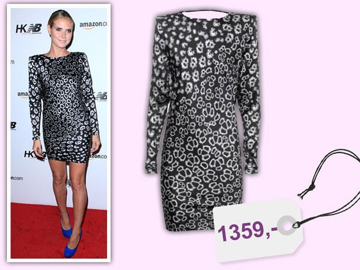 Star-Style: Das kosten die Designer-TeileHeidi Klum im angesagten Schwarz-Weiß-Look im rückenfreien Kleid von Thomas Wylde für 1.359 Euro. Über www.jades24.com zu beziehen.