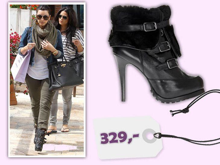 Star-Style: Das kosten die Designer-TeileKim Kardashian im Casual-Look - aber die High-Heels dürfen nicht fehlen. Diese kuscheligen Schuhe sind von Ash und kosten 329 Euro. Gesehen bei: www.jades24.com