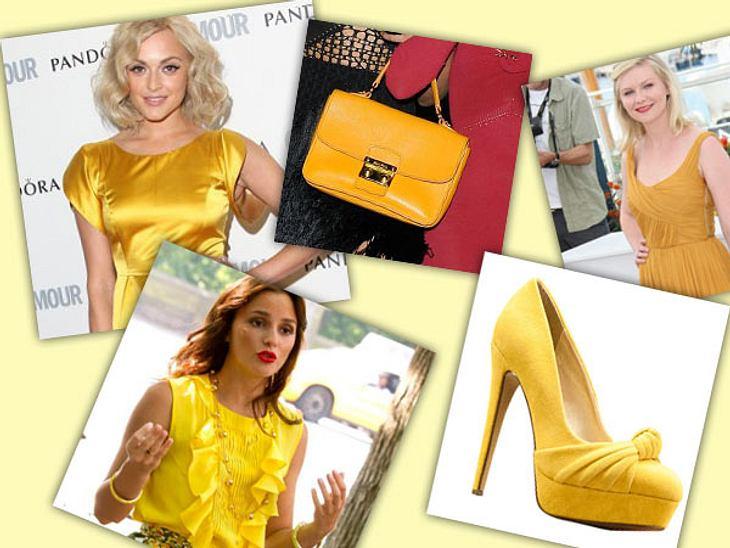 Star-Style: GelbGelb, gelb, gelb ... sind nicht nur ihre Kleider - auch Taschen, Schuhe und Schmuck leuchten in der Sommerfarbe von den roten Teppichen dieser Welt. Dieser Star-Style macht gute Laune!