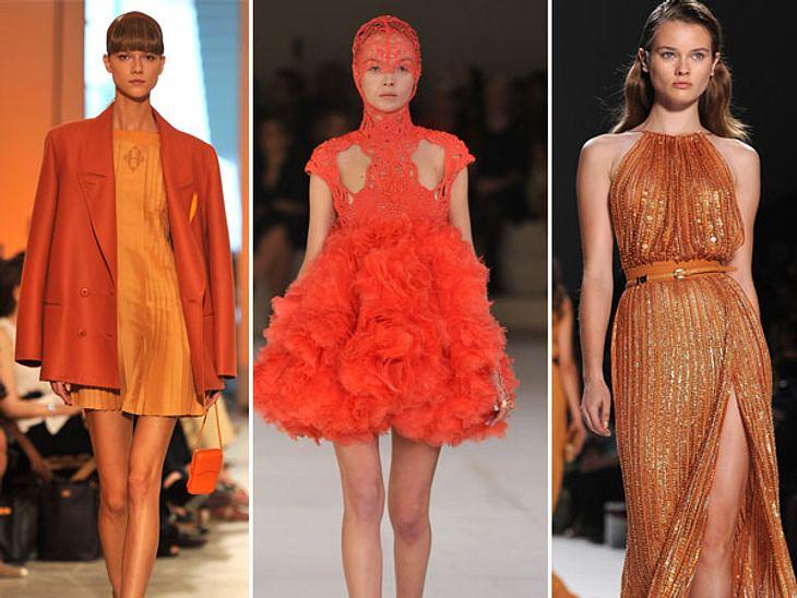 Star-Style: OrangeVon wegen trüber Herbst, trotz Regen und grauem Schmuddelwetter strahlen die schönsten Farben in den Shops.Schon bei der Fashion Week in Paris schickten die Modehäuser Hermes, Alexander McQueen und Ellie Saab ihre Models i