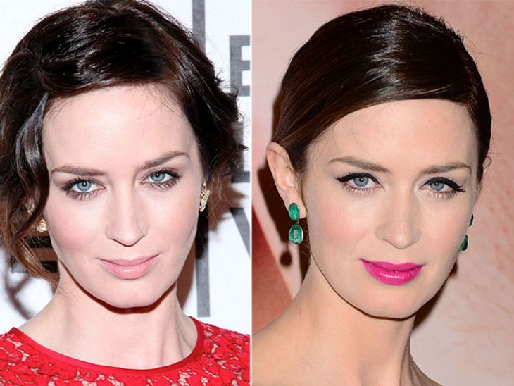 Star-Make-Up: Ein Unterschied wie Tag und NachtWas doch ein Lidstrich und ein bisschen pinker Lippenstift so ausmachen. Trotzdem gefällt uns der natürliche Look von Emily Blunt (29) ein wenig besser.