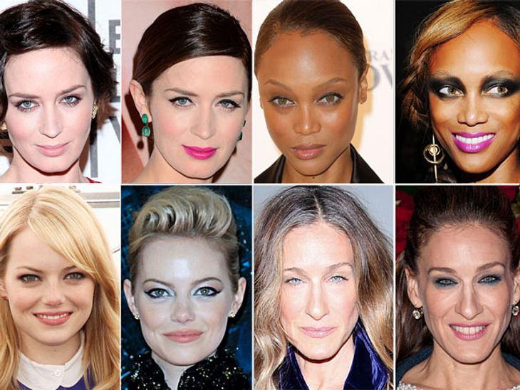 Star-Make-Up: Ein Unterschied wie Tag und NachtSarah Jessica Parker (47), Emily Blunt (29) und Tyra Banks (38) & Co. zeigen, wie sie ihr Make-Up von einem coolen Tages-Look zum sexy und glamourösen Abend-Make-Up verwandeln.,