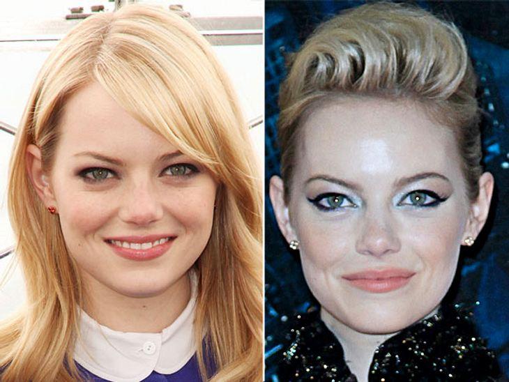 Star-Make-Up: Ein Unterschied wie Tag und NachtDas Selbe gilt für Emma Stone (23): Die Schauspielerin sieht zum Abend-Event wirklich entzückend aus. Aber gegen ihren natürlich Look am Tag kommt das nicht an.