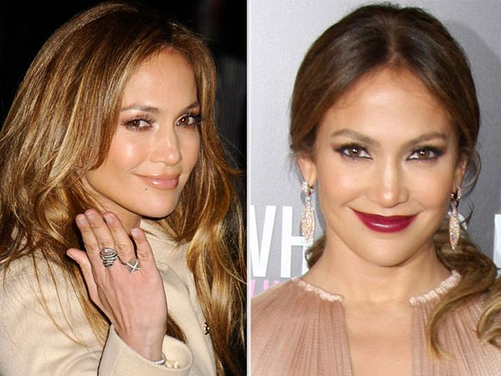 Star-Make-Up: Ein Unterschied wie Tag und NachtDas Nude-Make-Up für den Tag verleiht Jennifer Lopez (42) den richtigen Latina-Glow. Ihr Abend-Auftritt erinnert eher an Karneval.