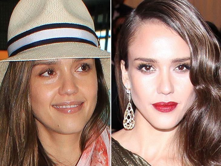 Star-Make-Up: Ein Unterschied wie Tag und NachtTagsüber läuft Jessica Alba (31) am liebsten ohne Make-Up herum. In der Nacht ist sie weniger praktisch und zeigt, was der Farbkasten so hergibt. Bezaubernd!