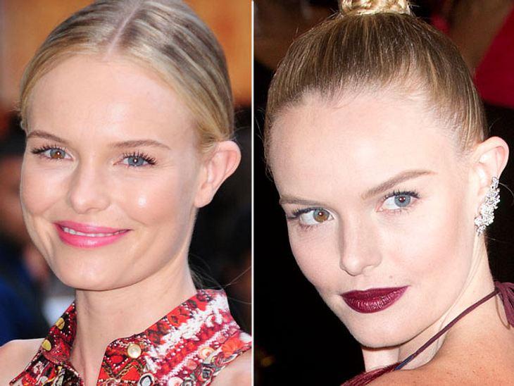 Star-Make-Up: Ein Unterschied wie Tag und NachtDie rosa Püppchenlippen stehen Kate Bosworth (29) um einiges besser als der mondäne dunkelbraune Lippenstift. Daumen hoch für das Tages-Make-Up!