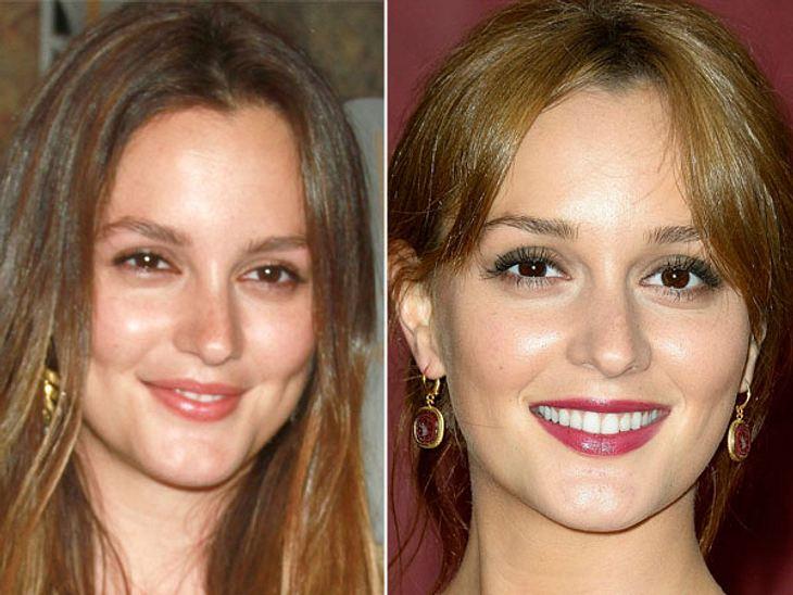 Star-Make-Up: Ein Unterschied wie Tag und NachtEin paar künstliche Wimpern angeklebt und den roten Lippenstift aufgetragen und schon ist der Look von Leighton Meester (26) für die Nacht perfekt.