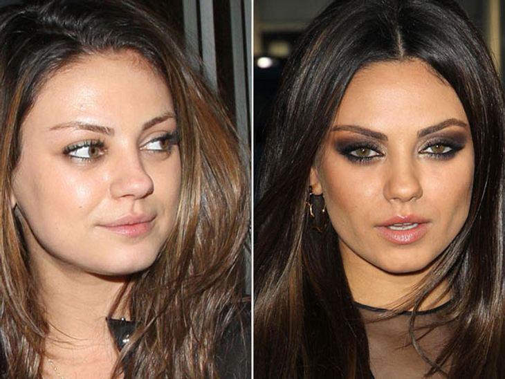Star-Make-Up: Ein Unterschied wie Tag und NachtUh, la la! Mila Kunis (28) verwandelt sich vom Tag zur Nacht von einem süßen Mädchen zum umwerfenden Vamp.