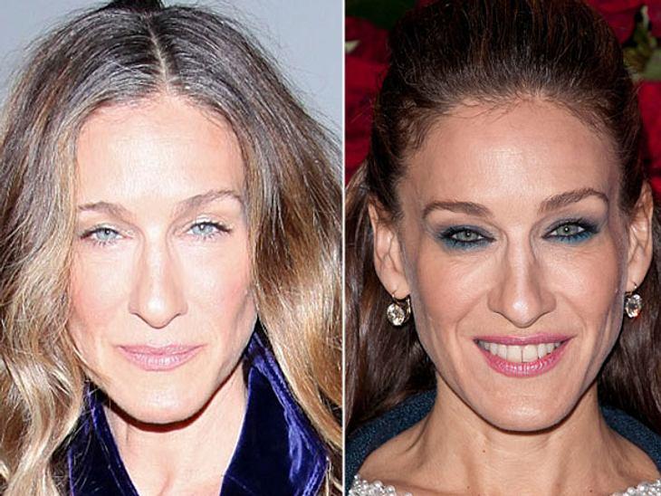 Star-Make-Up: Ein Unterschied wie Tag und NachtFür die großen Galas verwandelt sich Sarah Jessica Parker (47) fast komplett. Zum Glück färbt sie für Events dann auch ihre ergrauten Haare.